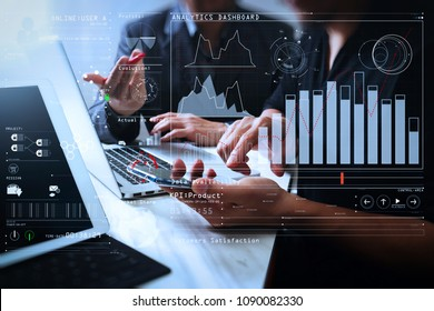 Intelligence (BI) and business analytics (BA) with key performance indicators (KPI) dashboard concept.Business team meeting. Photo professional investor working new start up project.