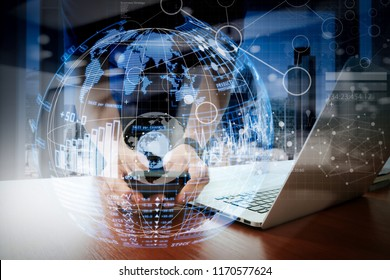 Intelligence (BI) and business analytics (BA) with key performance indicators (KPI) dashboard in VR globe form concept.businessman hand working with modern technology and digital layer effect