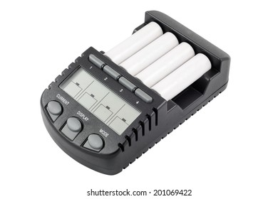 Intelligent accumulator battery charger with AA size batteries. Isolated on white backgroungd with clipping path.
