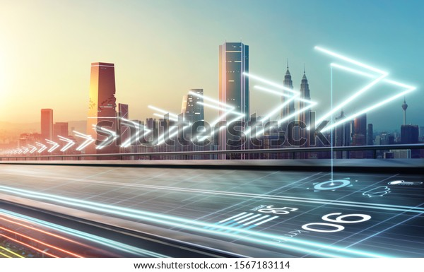 Intelligent automatic sensing system and radar signal system on flyover road . Smart city commute transportation network system concept .