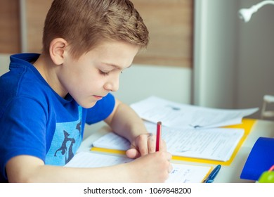 Intelligent boy makes homework at desk in his room