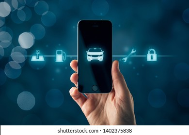 Intelligent car smart phone app concept, intelligent vehicle and smart cars concept. hand with smart phone with symbol of the car and information about parking location, fuel, service and security.