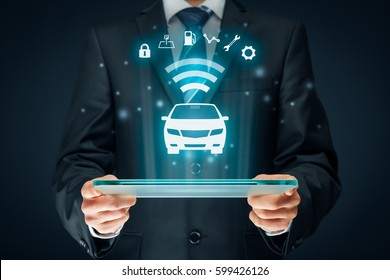 Intelligent car, intelligent vehicle, smart cars concept. Symbol of the car and information via wireless communication about security, parking location, fuel, drive analysis, service and car settings.