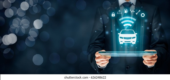 Intelligent car, intelligent vehicle and smart cars concept. Symbol of car and information via wireless communication about security, parking location, fuel, drive analysis, service and car settings.