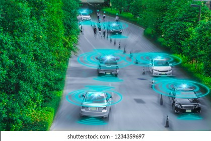 Intelligent car,Autonomous driving,artificial intelligence(AI),sensing system,wireless detect moving objects and people,concept future vehicle safety accident reduction in highway of smart car