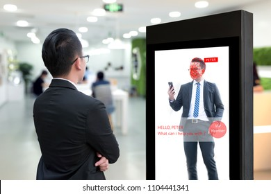 Intelligent Digital Signage , Augmented reality marketing and face recognition detect vip member concept. Interactive artificial intelligence digital advertisement in co working space.
