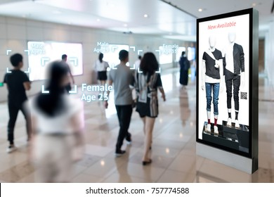 Intelligent Digital Signage , Augmented reality marketing and face recognition concept. Interactive artificial intelligence digital advertisement in retail shopping Mall.
