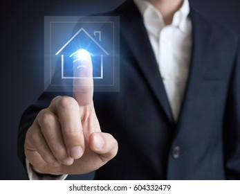 Intelligent house, smart home and home automation concept. Symbol of the house and wireless communication.