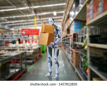 Intelligent robot technology holds box works instead of humans in the warehouse blur background