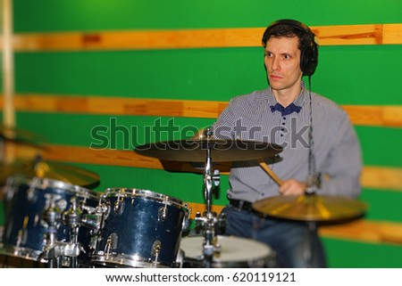 Intelligent Rock Drummer Jazz Band Stately Stock Photo Edit Now