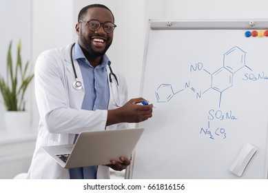 Intelligent smart chemist showing you a chemical formula