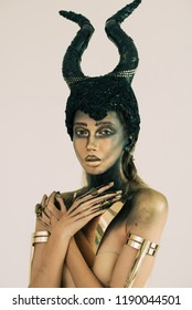 Intelligent Threat Makeup artistry, fashion, dark mystery scary Halloween concept.