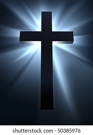 An intense burst of bright light behind a cross, the symbol of Christian religion.