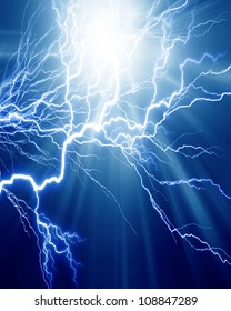 Intense electrical discharge on a dark background