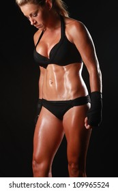Intense Female With Boxing Gear