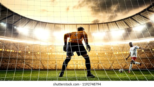 Intense soccer moment in front of the goal on the professional soccer stadium while the sun shines. Stadium and crowd are made in 3D.