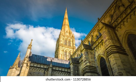 Intense Summer colors and a tourist perspective view of the Salisbury cathedral, Cathedral Church of the Blessed Virgin Mary. Salisbury is an Anglican cathedral in Wiltshire, Salisbury, England, UK.