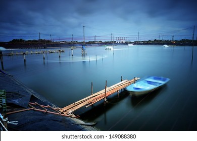 intensive shrimp farm in Thailand with long exposure shot