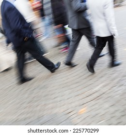intentional motion blur picture of walking people the pedestrian zone of a city