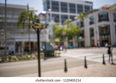Intentionally blurred image of luxurious Rodeo Drive, California, in Beverly Hills.