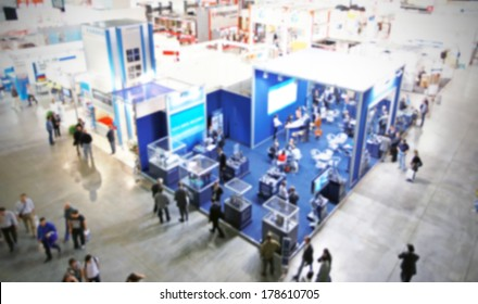 Intentionally blurred trade show background