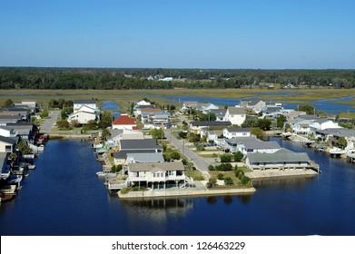 inter coastal waterway community, aerial view