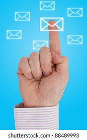 Interactive communication concept. Finger pointing letter icon