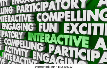 Interactive Compelling Participation Media Content Words 3d Render Illustration