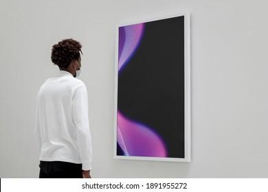 Interactive digital art screen at a gallery