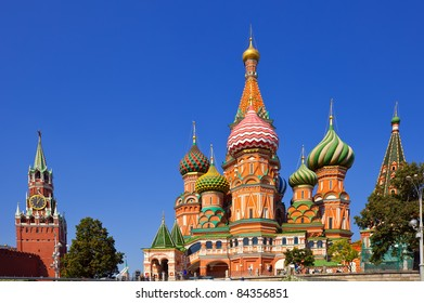 Intercession Cathedral  and the Spassky Tower of Moscow Kremlin at Red Square in Moscow. Russia