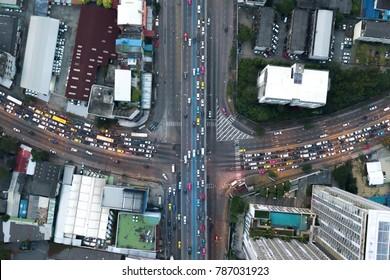 Interchange Highway traffic beautiful in city Bird Eye View in bangkok top view Bangkok Thailand .