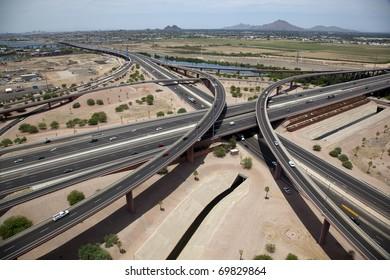 Interchange of Red Mountain 202 Freeway & Loop 101