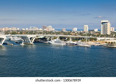 The intercoastal waterway that runs out to the Atlantic Ocean near Port Everglades in Fort Lauderdale, Florida