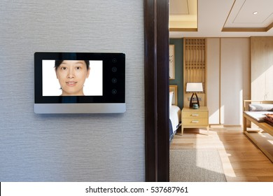 intercom video door bell on the wall outside modern dining room