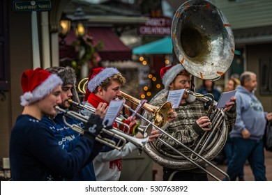 Intercourse, PA - December 3, 2016: A brass quartet performs Christmas tunes for shoppers at the Kitchen Kettle.