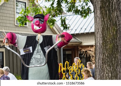 Intercourse, PA - Sept 28, 2019: This entry called Wild Hog in the Kitchen Kettle Village Scarecrow contest is one of the pig & bacon themed scarecrows created by local shops in the Village.