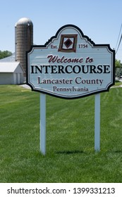 Intercourse, PA, USA - May 15, 2019: A Welcome to Intercourse sign located along the Old Philadelphia Pike in Lancaster County.
