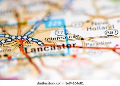Intercourse. Pennsylvania. USA on a geography map