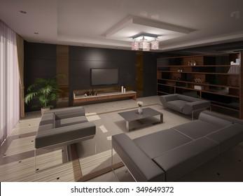 Interer modern comfortable living room, 3d rendering.