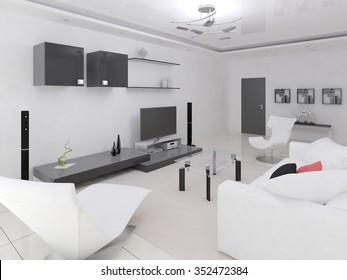 Interer modern spacious living room, 3d rendering.