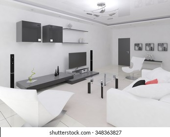 Intererior modern spacious living room, 3d rendering.