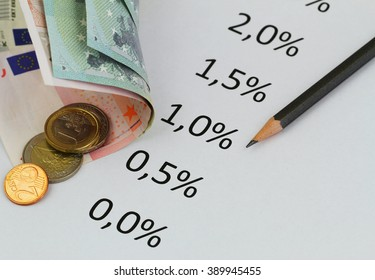 Interest rates listed on piece of paper with Euro banknotes and coins