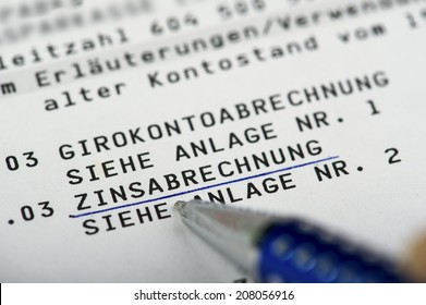 Interest settlement on a bank statement written in German Language Zinsabrechnung auf einem Kontoauszug