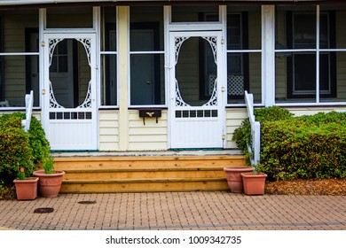 Interesting artwork on doors to a front porch of an old house in Virginia Beach & Porch Door Screen Images Stock Photos \u0026 Vectors | Shutterstock