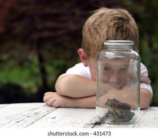 Interesting.. a boy watching toads in a jar.