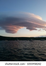 Interesting clowd formation with boats in the background