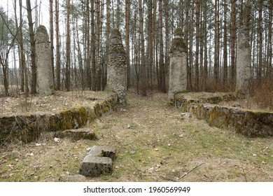 Interesting columns in forest in Plociczno, Kociewie, Poland - remnant of  ancient gardens, where, according to stories of  local population, there was  statue of Marshal Hindenburg - Shutterstock ID 1960569949