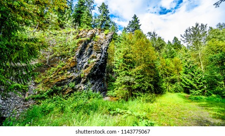 Interesting geological rock feature along the hiking trail to Whitecroft Falls near Sun Peaks in the Shuswap region of the Okanagen in British Columbia, Canada