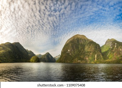 Interesting Mountain Range at Doubtful Sound that looks like a fantasy land. Numerous locations in Fiordland National Park, New Zealand were used for the 'Middle Earth' in 'Lord of the rings' movie