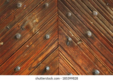 interesting pattern on wood door of romanian traditional church